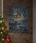 Blue and White Chapel in The Snow Fiber Optic LED Wall Hanging