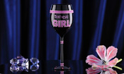 Glitter Birthday Girl Wine Glass